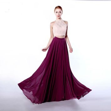 Two pieces Long with lace Formal Party Evening Dress