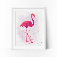 Flamingo Art, Watercolor Flamingo, Nursery Flamingo, Printable Art, Rose, Coral Prints, Girls Room Decor, Baby Girl Nursery, Kids Wall Decor