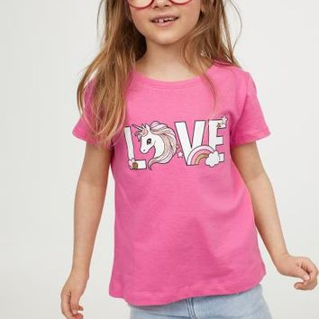 T-shirt with Printed Design - Pink/unicorn - Kids | H&M US