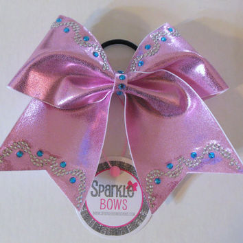 Tickle Me Pink Princess Trim Rhinestone Large Cheer Bow Hair Bow Cheerleading