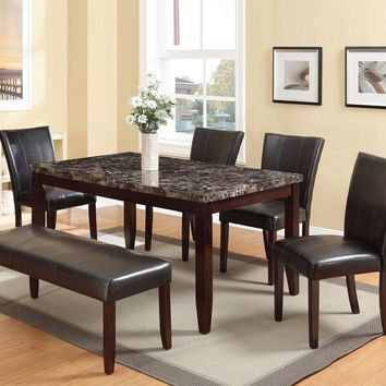 Acme 70520-22-23 6 pc Idris faux marble top espresso wood dining table set