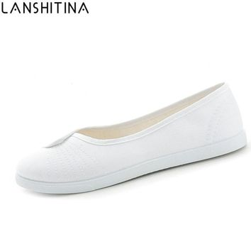 2017 New Fashion women Canvas shoes White Nurse Beautician Working shoes Slip-On Comfortable casual Flat shoes