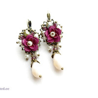 Small rose earrings. Maroon romantic floral shabby chic bridesmades earrings with french hooks.