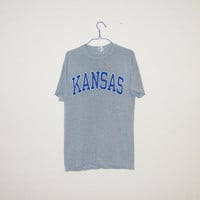 Vintage 80's University Of KANSAS JAYHAWKS College 50/50 T-Shirt - Size LARGE