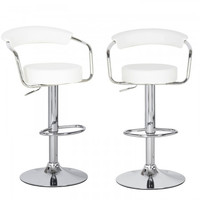 Joveco 360 Degree Swivel Adjustable Round Seat Bar Stool - Set of 2 (White)