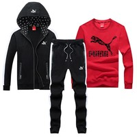 PUMA 2018 autumn and winter new sportswear casual sports suit two-piece Red