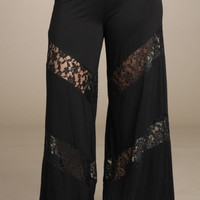 Plus Size Black Lace Pallazzo Pants