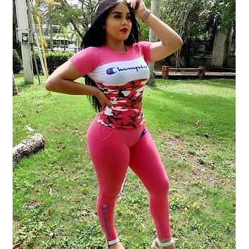 Champion Summer Fashion Women Casual Print Top Pants Trousers Set Two-Piece Sportswear Rose Red