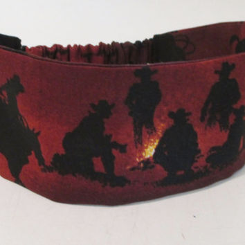 Reversible Wide Fabric Headband for Women - Rodeo Fabric Wrap Around Headband - Cowgirl Headband - OOAK