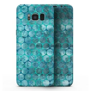 Aqua Sorted Large Watercolor Polka Dots - Samsung Galaxy S8 Full-Body Skin Kit