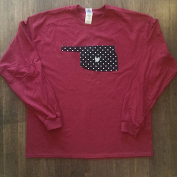 Norman Love Long Sleeve Tee. Cardinal Red Shirt with Oklahoma Applique. Boomer Sooner. University of Oklahoma. Polka Dots. Crimson Shirt
