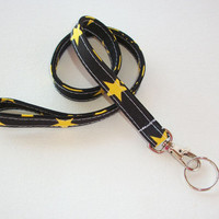 Lanyard  ID Badge Holder - black with gold stars - THINNER design  - Lobster clasp and key ring