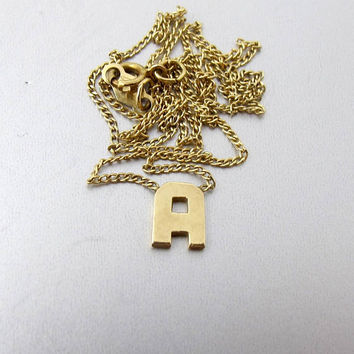 Gold Letter Initial Necklace.  14K Yellow Gold. Letter A Name. Mongram Charm Necklace.