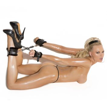 Leather Hog Tie With Fur Lined Cuffs (One Size,Black)