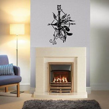 Guitar bow Rock Heavy Metal Wall Art Sticker Decal Ar747