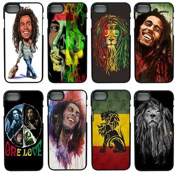 Bob Marleys Lion Rasta Reggae Cell Phone Cases Hard Anti-knock Black Case Protect Phone Cover for iphone 8 7 6 6S PLUS X 5S 5 SE