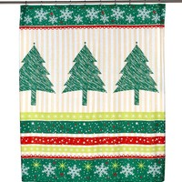 Tannenbaum Fabric Holiday Print Shower Curtain