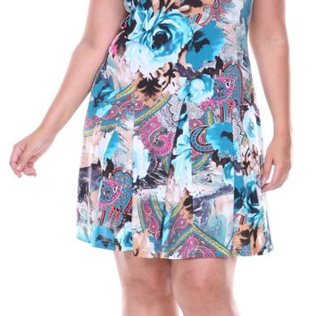 Plus Size Large Floral Print Dress Blue Sundress Fit/Flare