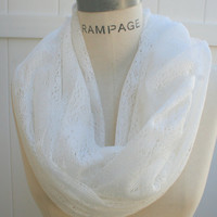 White Infinity Scarf FREE Shipping Lace Fashion Eternity Scarf Great Gift for Mom BFF Best Friend /W