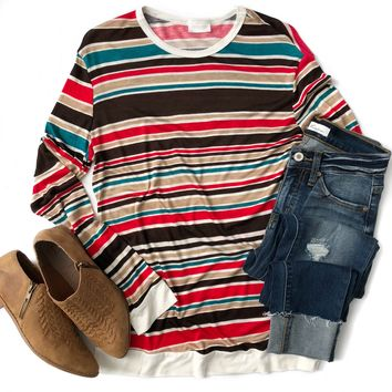 Fall Colors Striped Long Sleeve Top