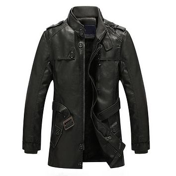 Autumn Winter Long Leather Jackets And Coats Men Warm Lining Coat Men Leather