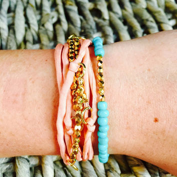 Dainty Gold Beaded Turquoise Bracelet -Stackable