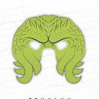 Halloween Mask, Printable Mask, Cthulhu Mask, Cthulu, Tentacle Monster, Alien Mask, Monster Mask, Octopus Mask, Paper Mask, Photo Booth