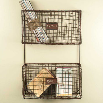 Wire Wall Pockets Double Wall Organizer With Rust - *FREE SHIPPING*