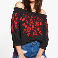 Bella Boutique Embroidered Off The Shoulder Top | Boohoo