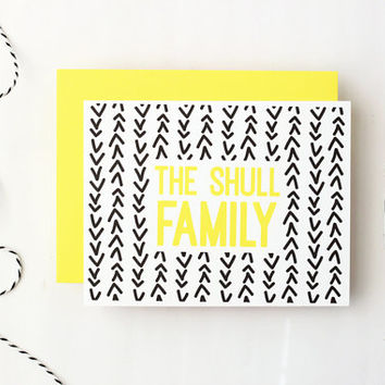 Custom Family Stationery Personalized Stationary Black and Yellow Arrow Pattern Tribal Print Family Note Cards Mothers Day Gifts / Set of 10