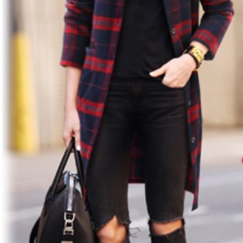 Plaid Straight Single Breasted Coat With Pocket