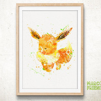 Eevee, Pokemon - Watercolor, Art Print, Home Wall decor, Watercolor Print, Nersery Room, Pocket Monsters Poster