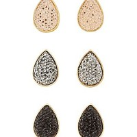 EMBELLISHED TEARDROP STUD EARRINGS - 3 PACK