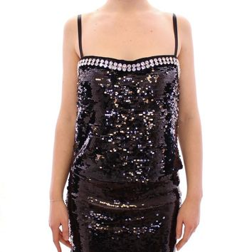 Black Sequin Crystal Embellished Blouse Top