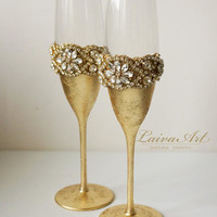 Gold Wedding Champagne Flutes Wedding Champagne Glasses Gatsby Style Wedding Toasting Flutes Gold Wedding