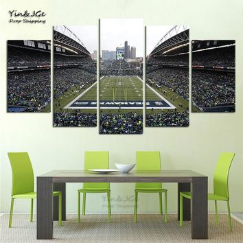 Decoration Wall Art Home Bedroom Pictures HD Printing On Canvas 5 Pieces Seattle Seahawks Football Game Modular Painting Poster