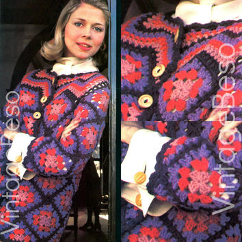 Cardigan CROCHET Pattern 1970s Vintage Crochet Pattern Granny Square Ripple Yoke Collar Button-up Cardigan Jacket Pattern Coat Pattern PDF