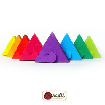 Printable Triangle Box Template, Rainbow Color, DIY Gift Box - Instant Download