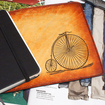 Leather Moleskine Cover – Penny Farthing