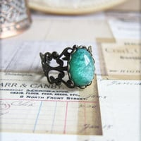 Lord of the Rings Inspired Emerald Green Ring Vintage Filigree Ring Cameo Ring Antique Brass Ring Cabochon Ring - Gandalfic