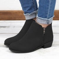 Zoey Vertical Zipper Leatherette Bootie {Black}