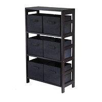 Capri Espresso 3 Section Shelf with 6 Black Baskets
