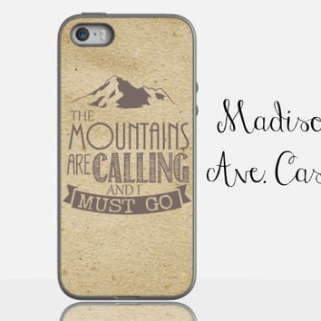 The Mountains Are Calling & I Must Go Travel Adventure Hiking Vintage Backpacking Outdoor Samsung Galaxy Edge iPhone 5s 4 6 Tough Phone Case