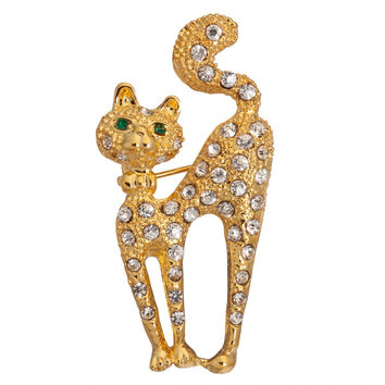 Cat Arched Jeweled Gold-Tone Pin