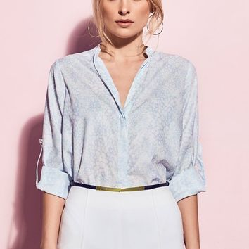 Matea Designs ISABELLA Light Blue Print Shirt | Pre-order dispatch 11th Dec
