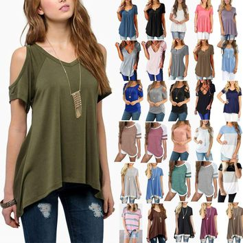 Women Summer Short Sleeve Loose T-Shirt Casual Ladies Tunic Top Blouse Tee Shirt   1