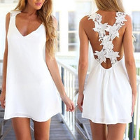 Women's Hot Sale Sexy White Halter Backless Strappy Mini Dress Cocktail Party (Size: One Size) = 1946888324