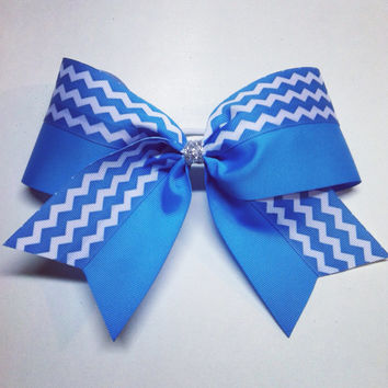 3 inch cheerleader cheer bow neon blue chevron