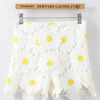 Sweet White Sunflower Daisy High Waist Lace Shorts