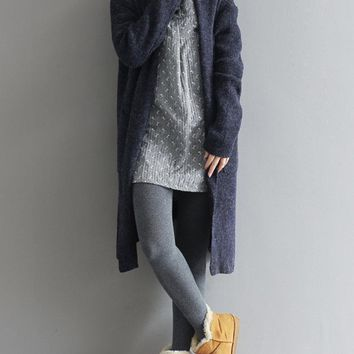 Casual Women Solid Long Sleeve Knit Long Cardigan
